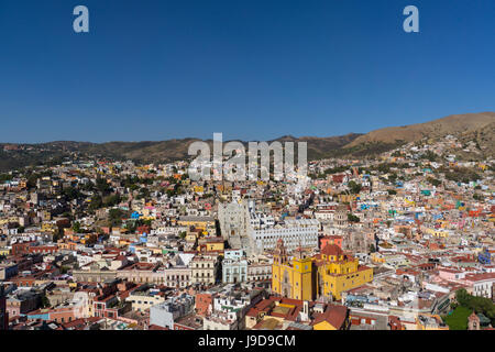 Town view from funicular, Guanajuato, UNESCO World Heritage Site, Mexico, North America - Stock Photo