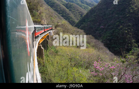 The El Chepe railway from Fuerte to Creel along the Copper canyon, Mexico, North America - Stock Photo