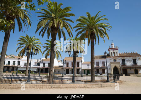 Sand streets and brotherhood houses, El Rocio, Huelva Province, Andalucia, Spain, Europe - Stock Photo