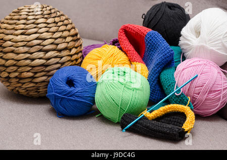 Colored balls of yarn. Rainbow colors. All colors. Yarn for knitting. - Stock Photo