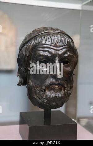 Sophocles (497-406 BC). Ancient Greek tragedian. Bronze portrait. 300-100 BC. From Izmir, Turkey. British Museum. - Stock Photo