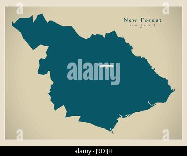 Modern Map - New Forest district UK illustration - Stock Photo