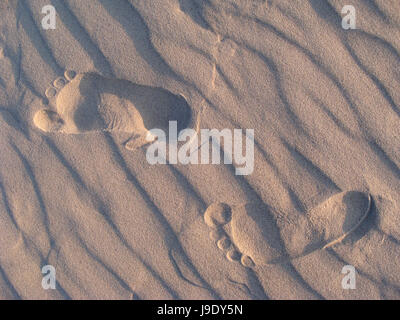 footprints in the sand. baltic sea,poland. - Stock Photo