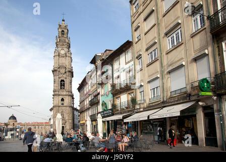 Cafes and Restaurant by Clerigos Tower on Largo Amor de Perdição in Porto - Portugal - Stock Photo