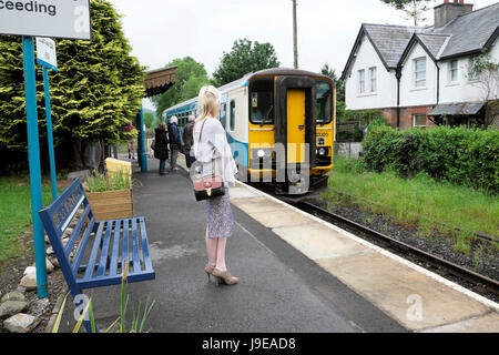 A woman worker on her way to work waiting on the rural platform for the Heart of Wales line Arriva train traveling - Stock Photo