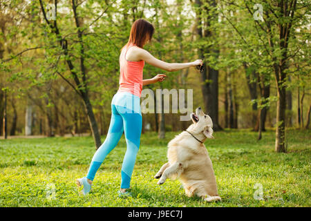 Sports girl playing with labrador - Stock Photo