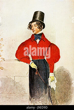 Early XIX century fashion, noble young lady with red riding dress, whip,handkerchief, haido and black stovepipe - Stock Photo