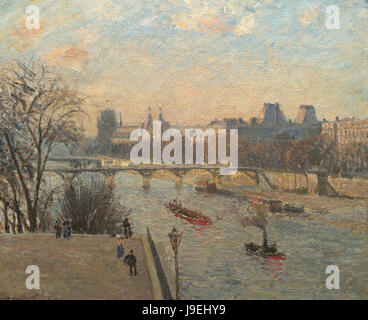 Camille Pissarro  Le Louvre et le Pont des Arts - Stock Photo