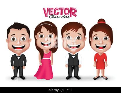 Vector Set of Professional Man and Woman Characters Happy Smiling in Formal Dress Attire for Business Isolated in - Stock Photo