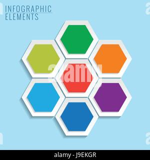 Infographic with honeycomb structure on the blue background. - Stock Photo