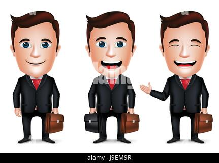Vector Businessman Cartoon Character with Different Pose Holding Briefcase for Traveling Isolated in White Background. - Stock Photo