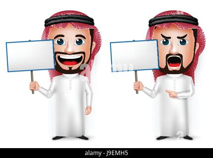 Vector Saudi Arab Man Cartoon Character Holding Blank Placard Wearing Thobe Isolated in White Background. Vector - Stock Photo