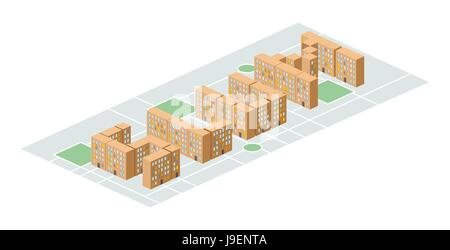 Slum district. Isometric city buildings. Yard among  houses. Vector illustration. Poor district on the outskirts - Stock Photo