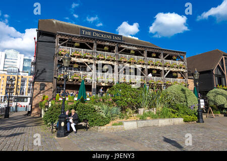 Old 18th century warehouse, now The Dickens Inn pub and restaurant in St Katharine's Docks, London, UK - Stock Photo