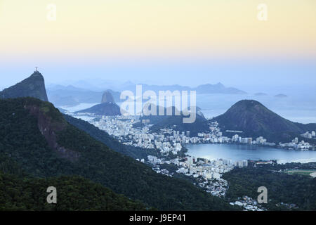 Rio de Janeiro landscape showing Corcovado and the Christ the Redeemer statue, Sugar Loaf, Guanabara Bay and in the distance Niteroi