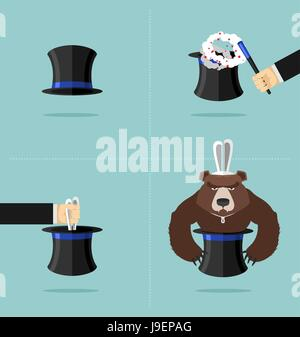Sequence of a magic trick. Instead of rabbit out of  hat was a bear. Top hat magician with magic wand. Rabbit in - Stock Photo