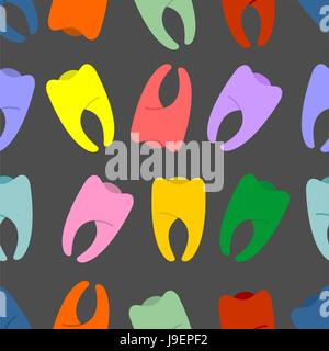 Colored teeth on a grey background seamless pattern. Vector hilarious background fabric. - Stock Photo