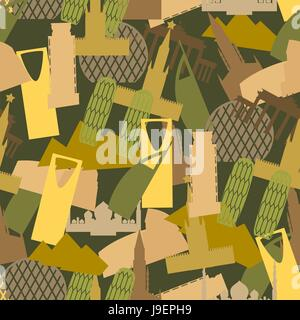 Military camouflage Landmark buildings. Attractions of army clothing texture. Protective seamless pattern. - Stock Photo