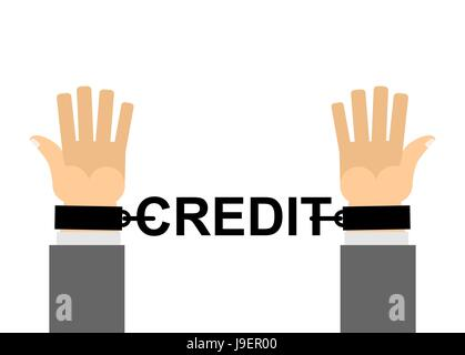 Hands shackled with chains credit. Financial slavery. Our cash loan. Bank shackles. - Stock Photo