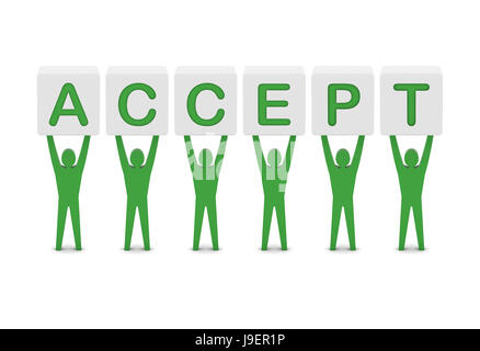 Men holding the word accept. Concept 3D illustration. - Stock Photo