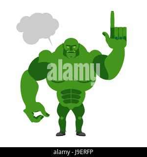 Green Goblin with a text bubble. Finger shows up. Big and powerful monster on a white background - Stock Photo