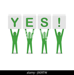 Men holding the word yes. Concept 3D illustration. - Stock Photo