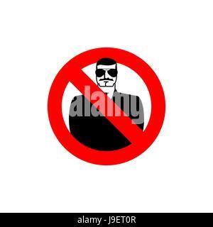 Stop spy. Forbidden secret agent. Frozen man in sunglasses. Red forbidden sign. Ban Scout - Stock Photo