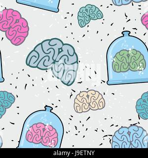 Laboratory of  pitcher and  human brain in a jar seamless pattern. Glassware for scientific experiments. Vector - Stock Photo