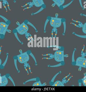 Vintage toy Robots seamless pattern. Background of cyborgs - Stock Photo