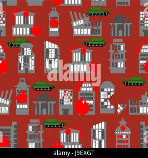 War seamless pattern. Ruined city. Tanks in town. Skyscrapers and public buildings destroyed. Background to danger. - Stock Photo