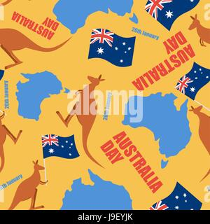 Australia day seamless pattern. Ornament for national day of Australia. Map of Australia and kangaroo. Traditional - Stock Photo