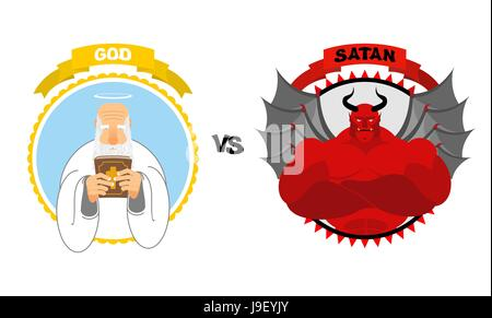 God vs Satan. Good grandfather with white beard and Halo above his head holds Bible. Dreaded Red Devil with horns - Stock Photo