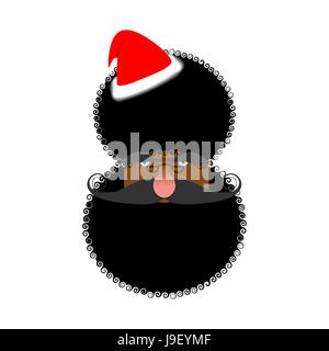 Black Santas face. African American in Claus hat. Afro Hairstyle. Christmas characters - Stock Photo