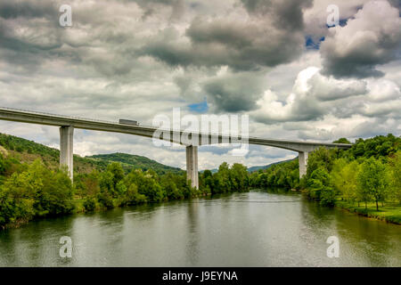 Viaduct on the A404 crossing the river Ain near Poncin. Ain. Auvergne Rhone Alpes. France - Stock Photo