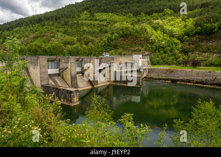 The Allement dam on the river Ain. Ain. Auvergne Rhone Alpes. France - Stock Photo