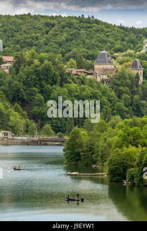Fishermen river Ain. Ain. Auvergne Rhone Alpes. France - Stock Photo