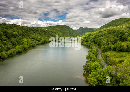 Canyon of river Ain. Ain. Auvergne Rhone Alpes. France - Stock Photo