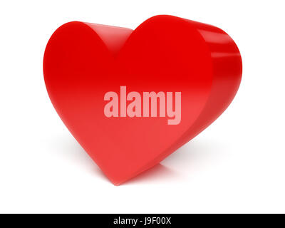 Big red heart over white background. Concept 3D illustration. - Stock Photo