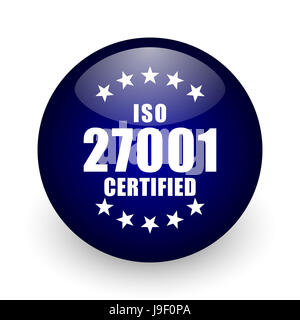 Iso 27001 blue glossy ball web icon on white background. Round 3d render button. - Stock Photo