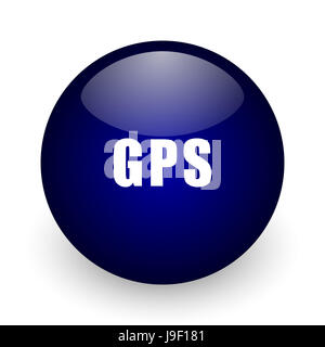 Gps blue glossy ball web icon on white background. Round 3d render button. - Stock Photo