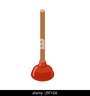 Toilet Plunger isometrics. Rubber plunger red cup on white background. Accessories for bathroom. Device for cleaning - Stock Photo