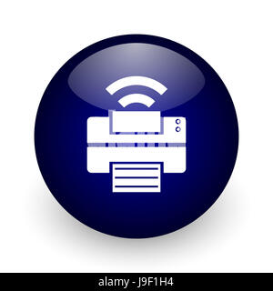 Printer blue glossy ball web icon on white background. Round 3d render button. - Stock Photo