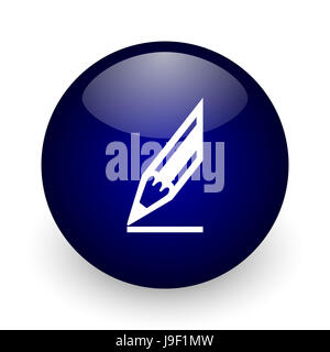 Pencil blue glossy ball web icon on white background. Round 3d render button. - Stock Photo