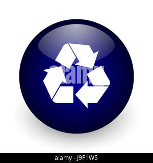 Recycle blue glossy ball web icon on white background. Round 3d render button. - Stock Photo