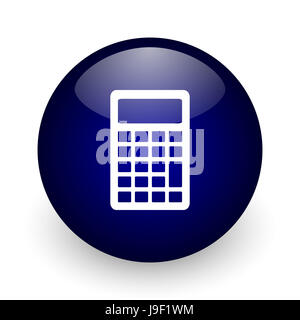 Calculator blue glossy ball web icon on white background. Round 3d render button. - Stock Photo