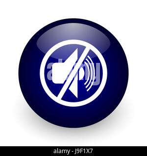 Mute blue glossy ball web icon on white background. Round 3d render button. - Stock Photo