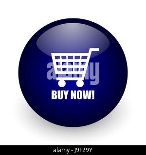 Buy now blue glossy ball web icon on white background. Round 3d render button. - Stock Photo