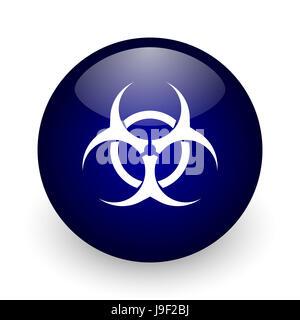 Biohazard blue glossy ball web icon on white background. Round 3d render button. - Stock Photo