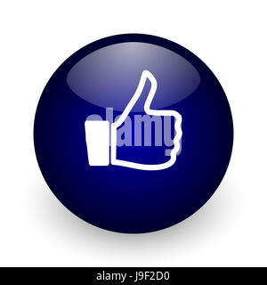 Like blue glossy ball web icon on white background. Round 3d render button. - Stock Photo