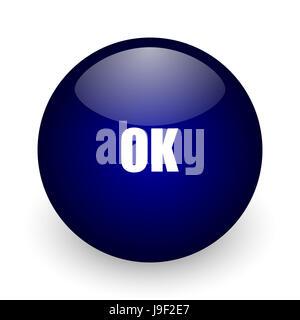 Ok blue glossy ball web icon on white background. Round 3d render button. - Stock Photo
